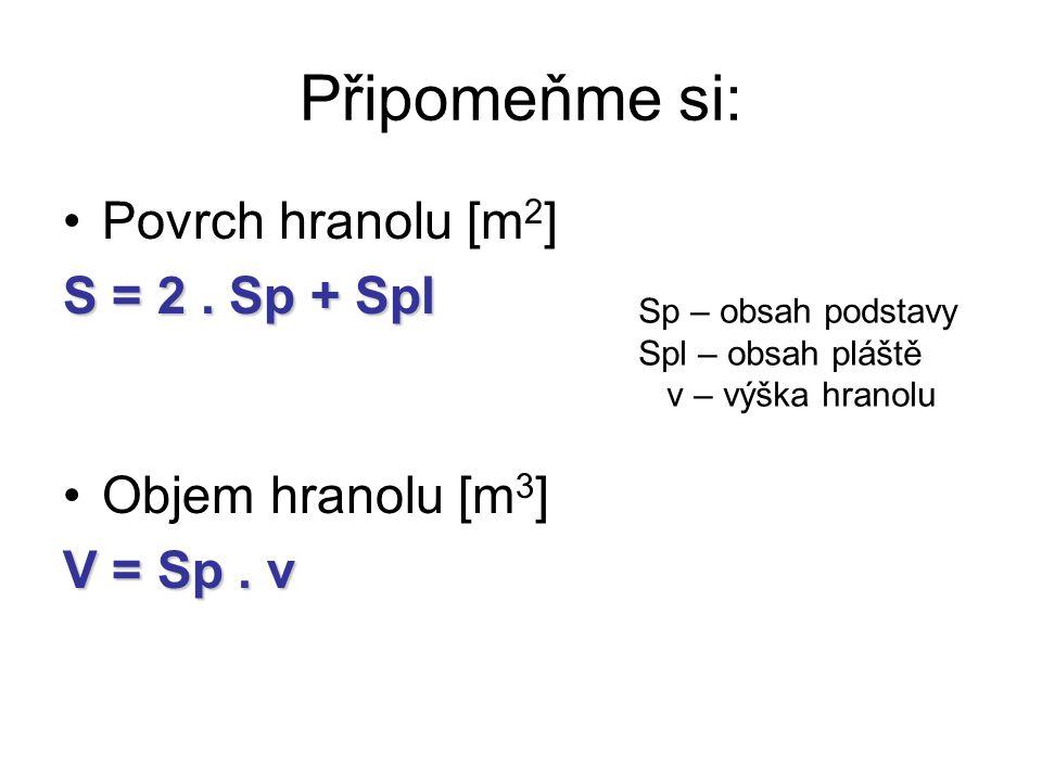 Připomeňme si: Povrch hranolu [m2] S = 2 . Sp + Spl Objem hranolu [m3]